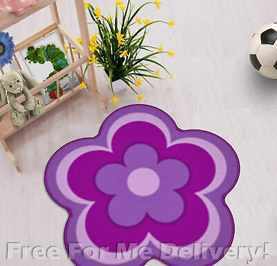 KIDS EXPRESS FLOWER SHAPE PURPLE FUN FLOOR RUG (XS) 67x67cm **FREE DELIVERY**