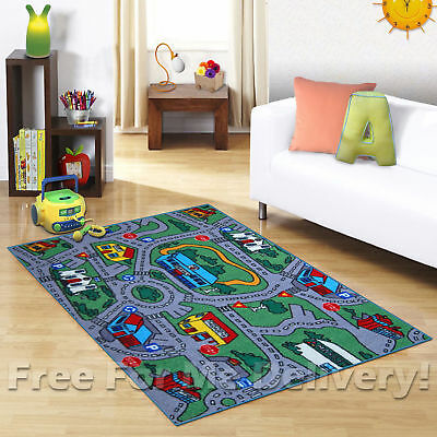 KIDS EXPRESS CITY WAY ROADS FUN FLOOR RUG (XS) 100x130cm **FREE DELIVERY**
