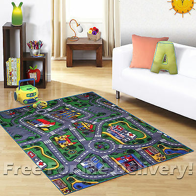 KIDS EXPRESS CITY STREETS ROADS FUN CAR PLAY RUG (XS) 100x130cm **FREE DELIVERY*