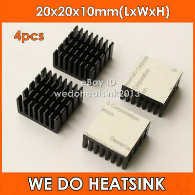 4pcs 20x20x10mm Black Anodized and Slotted Aluminum Heatsink