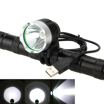 USB 3000LM XML-T6 LED Cycling Head Front Bike Bicycle Light Headlamp 3 Mode