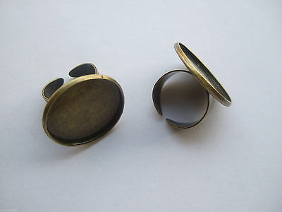 5 x Antique Bronze 25mm Round Adjustable Ring Blank Base Cabochon Setting