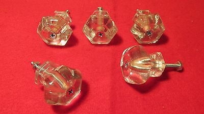 5 Antique Glass Cupboard Drawer Knobs  No. 2