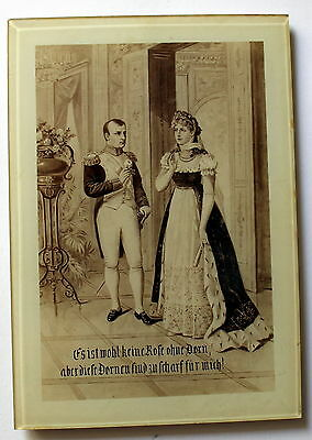 "Nice Picture ""Napoleon With Luise Of Prussia"" With Stand 19th Century"