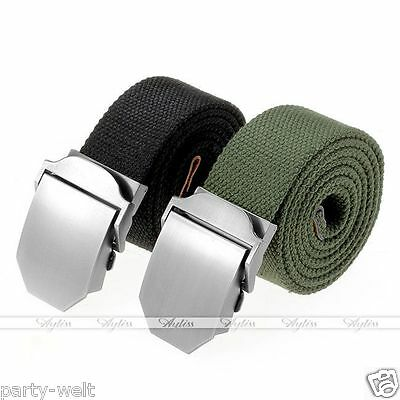 New Fashion Mens Slider Buckle Military Cool Long Weave Canvas Web Belt Gift