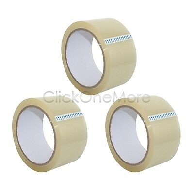 3 x Premuim Quality Clear Low Noise Tape Parcel 48mm x 50m Top Packing Tape MX