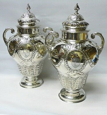 Pair of Victorian Silver Vases by Harris Brothers 1896 stock id 8221