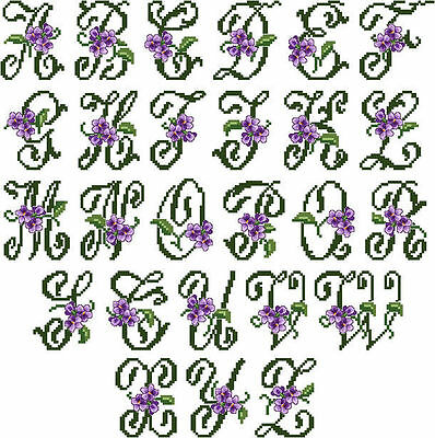 "ABC Designs Violets Font Large Machine Embroidery Cross Stitch Designs 5""x7""hoop"