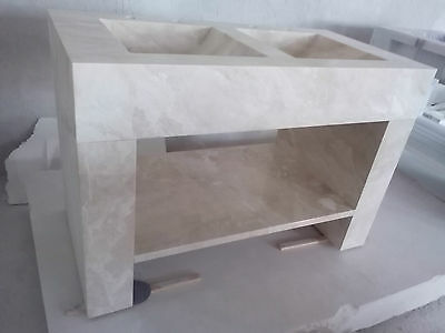Diana Ro Marble, Polished Handmade Solid White Marble DoubleSink 1250x950x650mm
