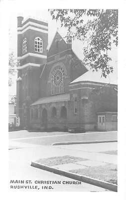 Rushville Indiana view of Main St Christian Church real photo pc Y11168