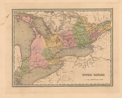 Upper Canada Antique Map Bradford 1838 Original