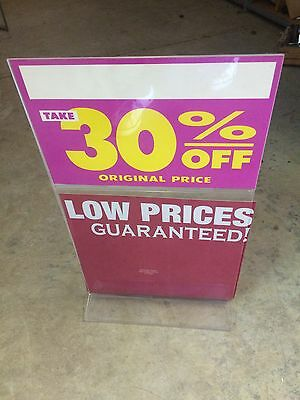 """11 X 19 1/2"""" Acrylic Counter Top Sign Holder 2 Tiered"""