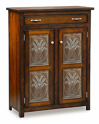Amish Pie Safe Wheat in Door Panels Kitchen Pantry Cupboard Shelves Solid Wood
