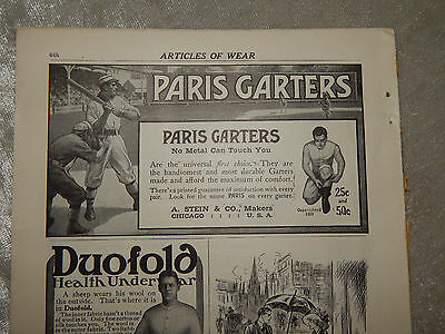 1911 Ad Brighton Garters Paris mens  vintage baseball players Scribners  period