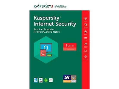 KASPERSKY INTERNET SECURITY 2017 / 1 PC/ 1Year , DOWNLOAD ,NO CD, ANTIVIRUS,SALE