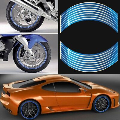 "8mm Wheel Rim Tape Striping Reflective Sticker 18"" for Motorbike Car Pack of 16"