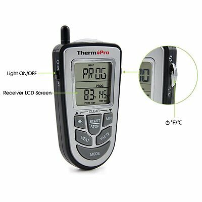 Wireless Remote Oven Meat Thermometer Count-Down Up Kitchen Cooking Timer