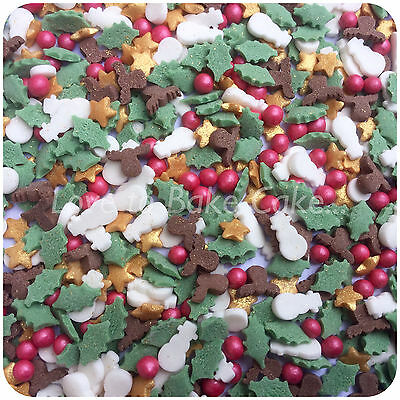 CHRISTMAS MIX SPRINKLES - Edible Sugar Cupcake Sprinkles Cake Decoration