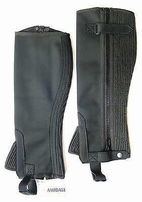 Half Chaps Horse Riding Equestrian Black Washable Amara - S/m/l/xl With Fre Gift