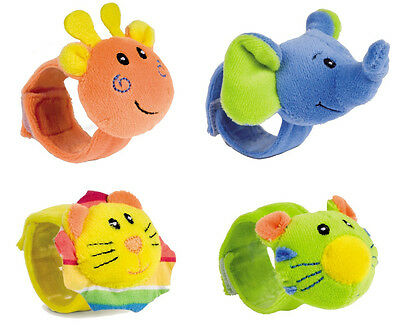 BABY RATTLE TOY Canpol Hand Wrist Soft Plush Rattle Toy Colourful Animals 68/005