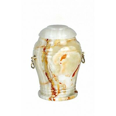 BEAUTIFUL LARGE Cremation Ashes URN for Adult Stone White Onyx Memorial Funeral