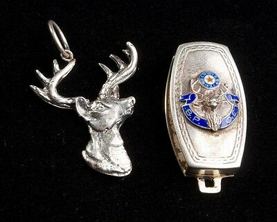 Two Antique Sterling Silver Elks Lodge BPOE Fob Pendant Accessory Pieces
