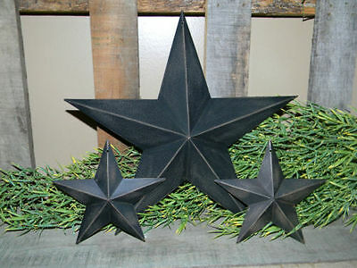 "SET 3 12"" 5 1/2"" BLACK BARN STAR Metal Tin Primitive Country Rusty Farmhouse 5.5"