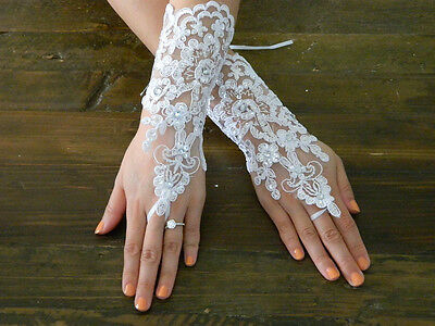 White Lace Wedding Gloves Rhinestones and Satin Lace Up Back, Bridal Accessories