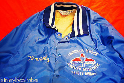 Vintage Amoco Oil Employee Jacket Lubricants Division Award Dewaxing Dept Mens