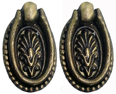 Set of 2 Solid Brass Oval Ring Pulls Victorian Style