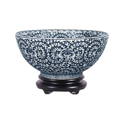 """Vintage Style Blue and White Chinoiserie Porcelain Bowl 12"""" Diameter"""