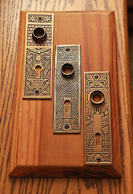 Three Ornate Victorian Door Back Plates Antique Hardware Arts & Crafts Mission