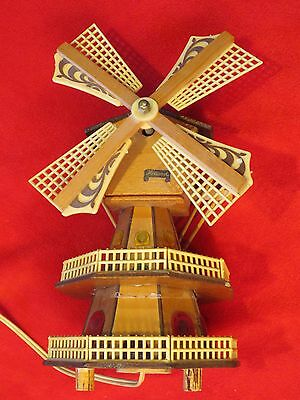 Charming Vintage Souvenir Holland Windmill Decorative with Music Box Light House