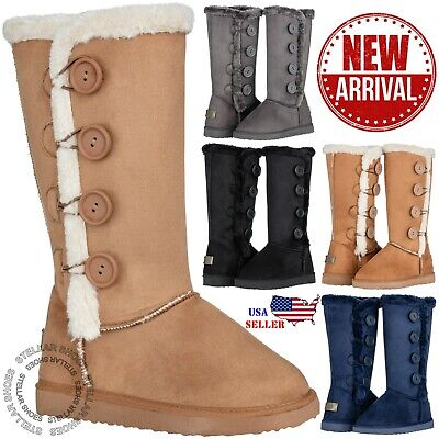 New Women's Four Button Faux Fur Lined Shearing Mid Calf Winter Snow Fur Boots