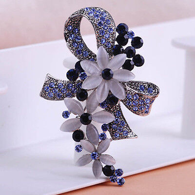 Stunning Vintage Inspired Antique Silver Sapphire Blue Crystal Flower Brooch
