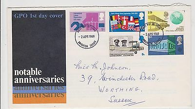 (JO-35) 1969 GB FDC 5stamps notable anniversaries used (35H)