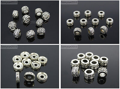 Tibetan Silver Carved Patterned Round Rondelle Connector Space Charm Beads Craft