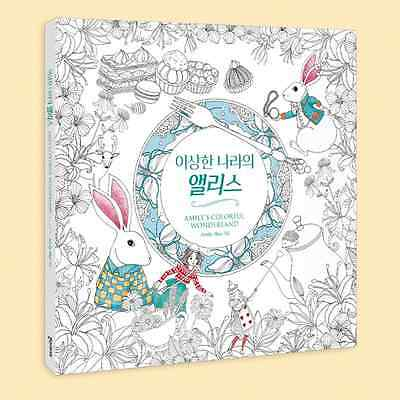 """""""Alice in Wonderland"""" Adult Coloring Book Color Therapy Craft Anti Stress Book"""