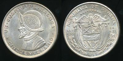 Panama, Republic, 1953 1/4 Balboa (Silver) - Uncirculated