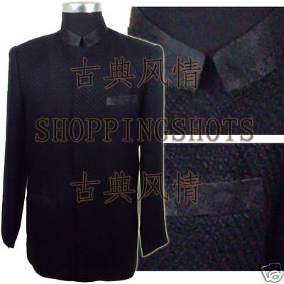 chinese coat clothing clothes for men jacket 093208 black custom made service