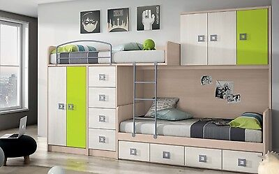 hochbett design kinderzimmer mit 2 betten schubkasten kleiderschrank leiter eur. Black Bedroom Furniture Sets. Home Design Ideas