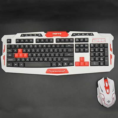 Optical Wireless Keyboard and Mouse Keyboard Colour HK8100 White + Red