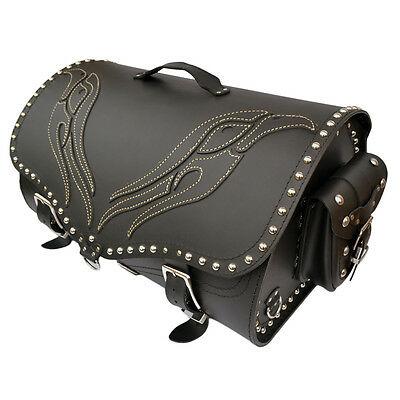 Motorcycle Leather Sissy Bar Bag Case Saddlebag Pannier Harley Trike Vw Goldwing