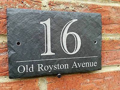Personalised Natural Slate House Name Door Gate Number Sign Plaque 10x15cm imp