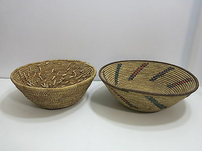 Lot Of 2 Vintage African Woven Baskets From 1960's Peace Corp Teacher Estate