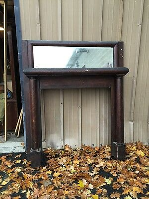 Mp1antique Three-Quarter 1/4 Sawn Oak With Beveled Mirror Fireplace Mantle