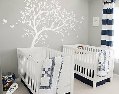 Large tree wall decal White wall mural wall art stickers nursery decals - KW032R