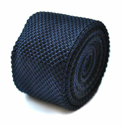 plain navy blue skinny knitted tie by Frederick Thomas FT264