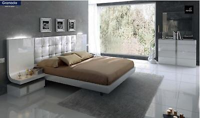 Chic Modern ESF Granada White Grey Lacquer Queen Size 5 Piece Bedroom Set Spain