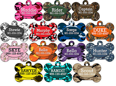 Camo Custom Pet Id Dog Tag Personalized w/ Your Pet's Name & Number